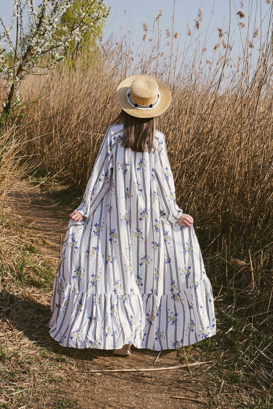 Rochie femei confortabila imprimata flori galbene bumbac vascoza natural