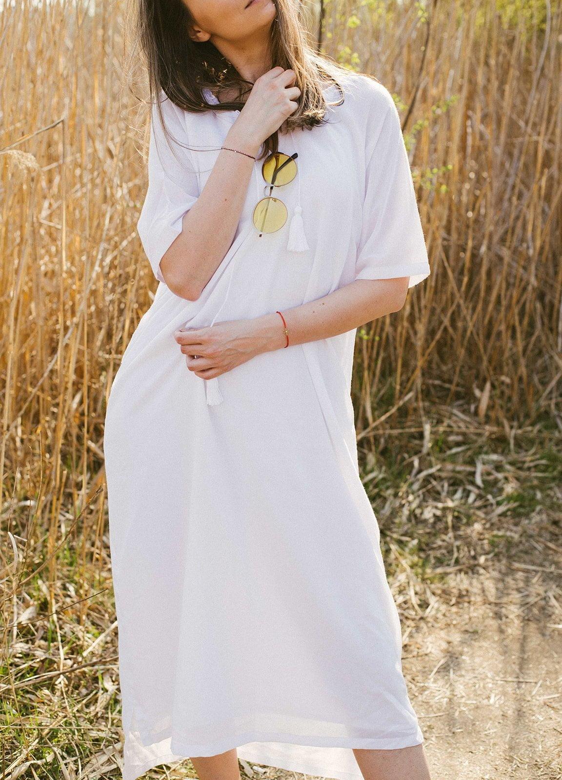 Rochie femei simpla minimalista alba confortabila panza topita vascoza material natual -